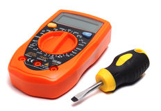 Multimeter and direct screwdriver Stock Photo