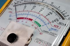 Multimeter display. Analog multimeter display close up royalty free stock image