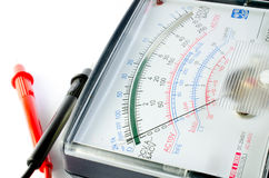 Multimeter display closeup. With voltage and amps stock image