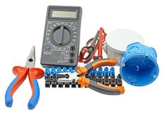 Multimeter, electric socket, insulation tape royalty free stock photography