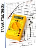 Multimeter and Transistors theory Stock Photo