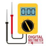 Multimeter Vector. Digital Gadget. Electrical Multitester Icon. Current Voltmeter Voltage Meter. Electronic Equipment. Illustration Royalty Free Stock Images