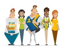 Multinationaal groepsteam van de Groepsfoto van studententieners Stock Foto's