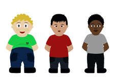 Multinational boys set isolate on white background. Boys of three nationalities: European, Chinese and African American. Children of the world. Vector Stock Photos