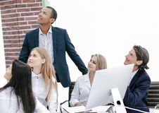 Multinational business team looking at copy space. royalty free stock photos