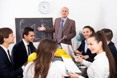 Multinational company of architects brainstorming Stock Image