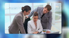 Multinational corporate videos with an Earth image courtesy of Nasa.org stock footage