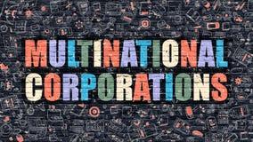 Multinational Corporations Concept. Multicolor on Dark Brickwall. Stock Photo
