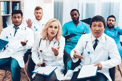 Hospital Doctor`s Meeting. Discussion Concept. stock photography