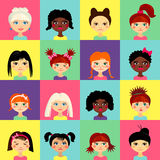 Multinational female face avatar profile heads Stock Photos