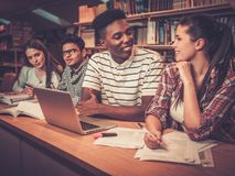 Multinational group of cheerful students studying in the university  library. Stock Photos