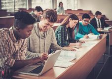 Multinational group of cheerful students taking an active part in a lesson while sitting in a lecture Hall. Royalty Free Stock Photo