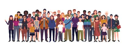 Free Multinational Group Of People Isolated On White Background. Children, Adults And Teenagers Stand Together. Vector Royalty Free Stock Photography - 168613957