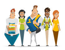 Multinational group team of students teenagers Group photo. Vector character illustration of multinational group of students teenagers standing in a row Group Stock Photos