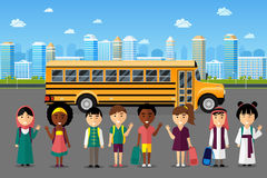 Multinational kids going to school Royalty Free Stock Photography