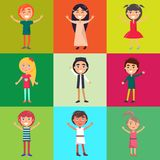 Multinational Kids Isolated on Colorful Background. S in concept of universal childrens day. Celebration of international 1 June holiday vector illustration Stock Photos