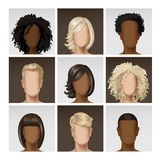 Multinational Male Female Face Avatar Profile. Vector Multinational Male Female Face Avatar Profile Heads with Multicolored Hairs Icon Picture Set  on Background Stock Photography