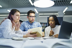Multinational team of business school students stock images