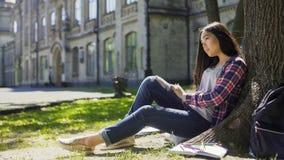 Multinationale junge Frau, die ruhig unter dem Baum nach vorn schaut, Beobachtung sitzt stockfotografie