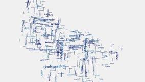 Multinationell animering för typografi för moln för ord för företag för företags affär Fotografering för Bildbyråer