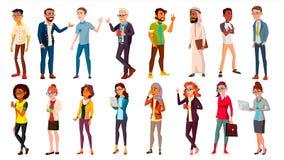 Multinationell folkuppsättningvektor tränga ihop folk Män kvinnor Affärsmänniska Olika länder isolerad knapphandillustration skju stock illustrationer