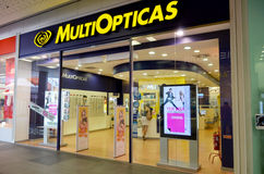 MultiOpticas opticians shop. MultiOpticas shop situated in Portimao shopping Mall in Portugal.  Entrance of optometrists shopPhoto taken on the 15th August 2013 Stock Images