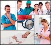 Multipanel de los doctores que atienden a los pacientes Fotos de archivo libres de regalías