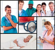 Multipanel of doctors attending to patients. Multipanel of happy team of doctors attending to patients Royalty Free Stock Photos