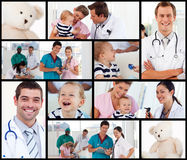 Multipanel of doctors with babies. Multipanel of doctors and nurses looking after babies Royalty Free Stock Image