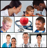 Multipanel of healthcare and nutrition concept. With doctors working in hospita Stock Images