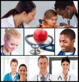 Multipanel van gezondheidszorg en voedingsconcept Stock Afbeeldingen