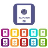 Multipassport icons set flat Stock Images