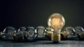 Multipeln 3D illustrerade glödande ljusa kulor på en reflekterande yttersida royaltyfri bild