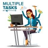Multipeln Tasks vektorn för affärskvinnan Många händer samtidigt Finansiell ockupation Begåvad arbetare Plan tecknad film stock illustrationer