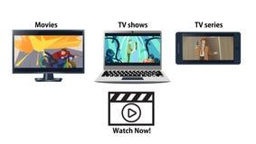 Multiplatform che scorre la pubblicità di servizio Immagine Stock