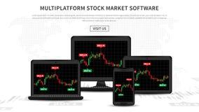 Multiplatform stock market software vector illustration. Application for investment and online trading for desktop, laptop, tablet, smartphone Royalty Free Stock Photos