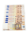 Multiple 50 euro notes Stock Photos