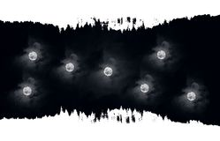 Multiple abstractive moons vector illustration
