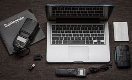 Multiple accessories for photographers. royalty free stock photo