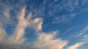 Multiple altitude clouds time lapse. A time lapse video showing the motion and transformation of different types of clouds, at different altitudes stock video footage