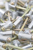 Multiple aluminium rivets Royalty Free Stock Photography
