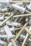 Multiple aluminium rivets Stock Photography