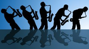 Playing the blues. Multiple angles of man playing the blues on a saxophone. EPS file is AI10 with blends in background Stock Photo