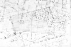 Multiple Architecture Plans On Building Drawing Stock Photography