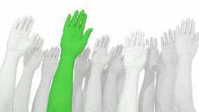 Multiple arms and hands raised in white with one green. Standing out from the crowd 3D illustration Stock Photos