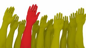 Multiple arms and hands raised in yellow with one red. Standing out from the crowd 3D illustration Royalty Free Stock Images