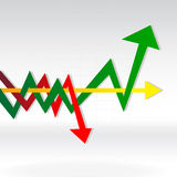 Multiple arrows in the graph royalty free stock images