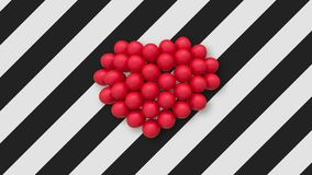 Multiple balloons forming a heart in the center on background with black and white stripes. Multiple red balloons forming a heart and slightly swaying in the air stock video