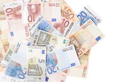 Multiple bank note euro bills Royalty Free Stock Images