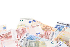 Multiple bank note euro bills Stock Photography